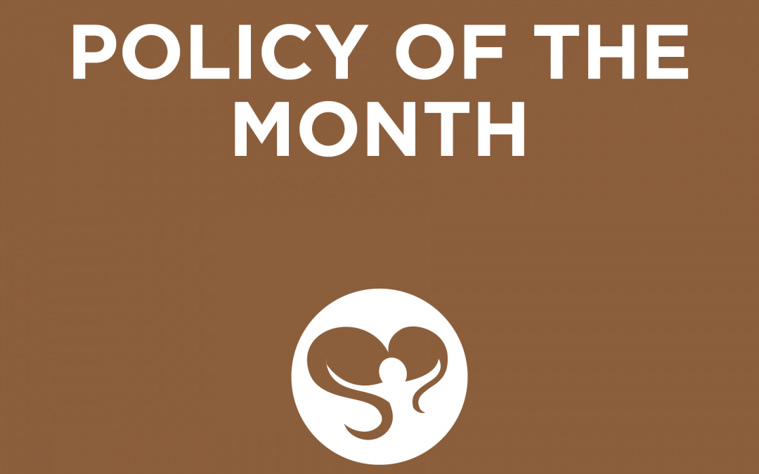 Brown Colored Title Card for Policy of the Month