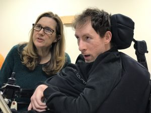2019.GaryTechDemonstration.Therapy 4 300x225 - Elizabeth and GD inspect his adaptive speech device
