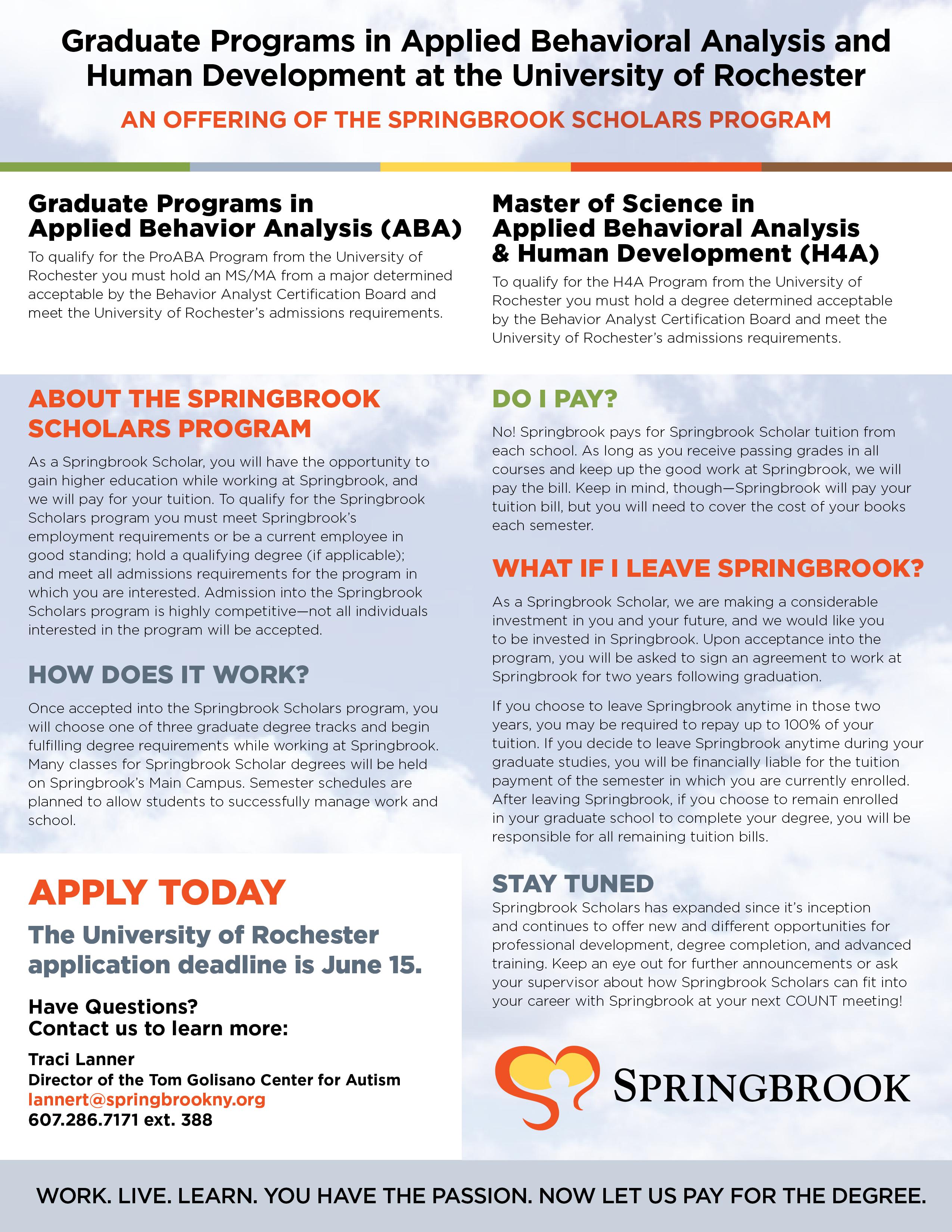 2019 SpringbrookScholars Rochester Programs - Springbrook Scholars - Rochester Graduate Programs