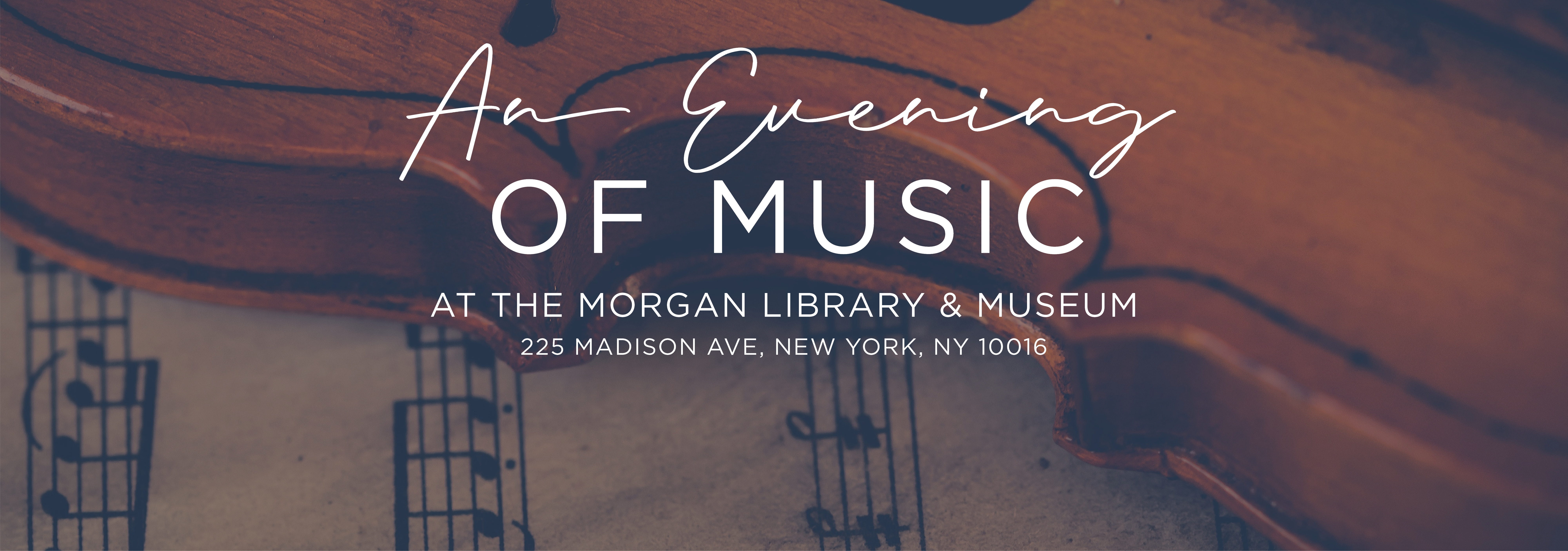 homepage slider with violin in background, advertising an Evening of Music on Dec 19