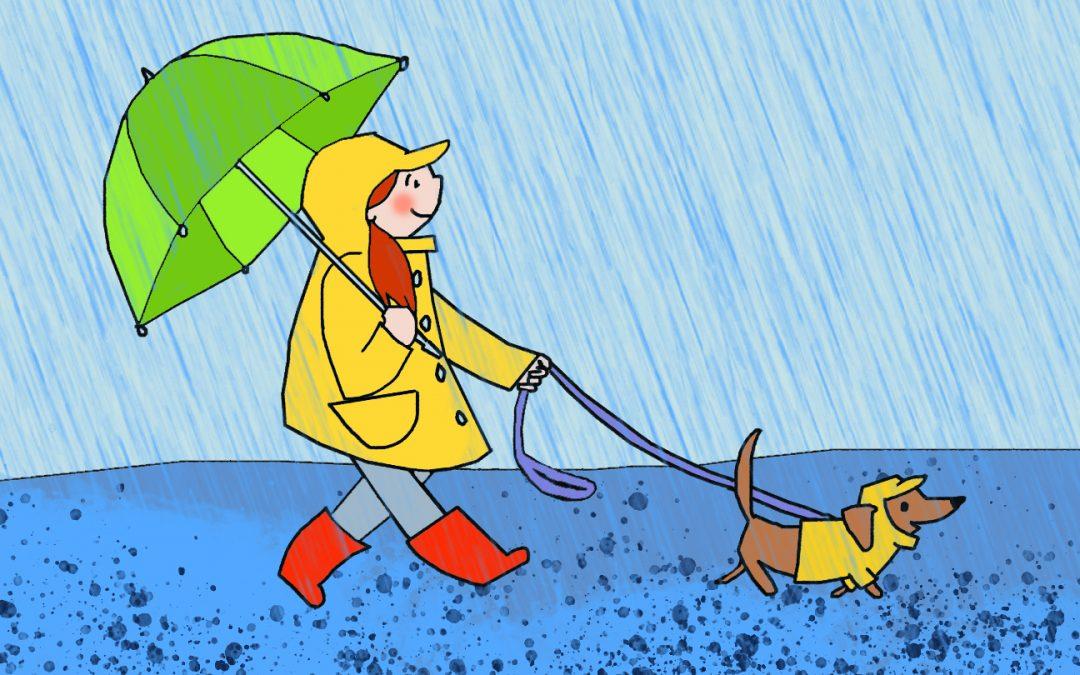 woman walking dog in the rain