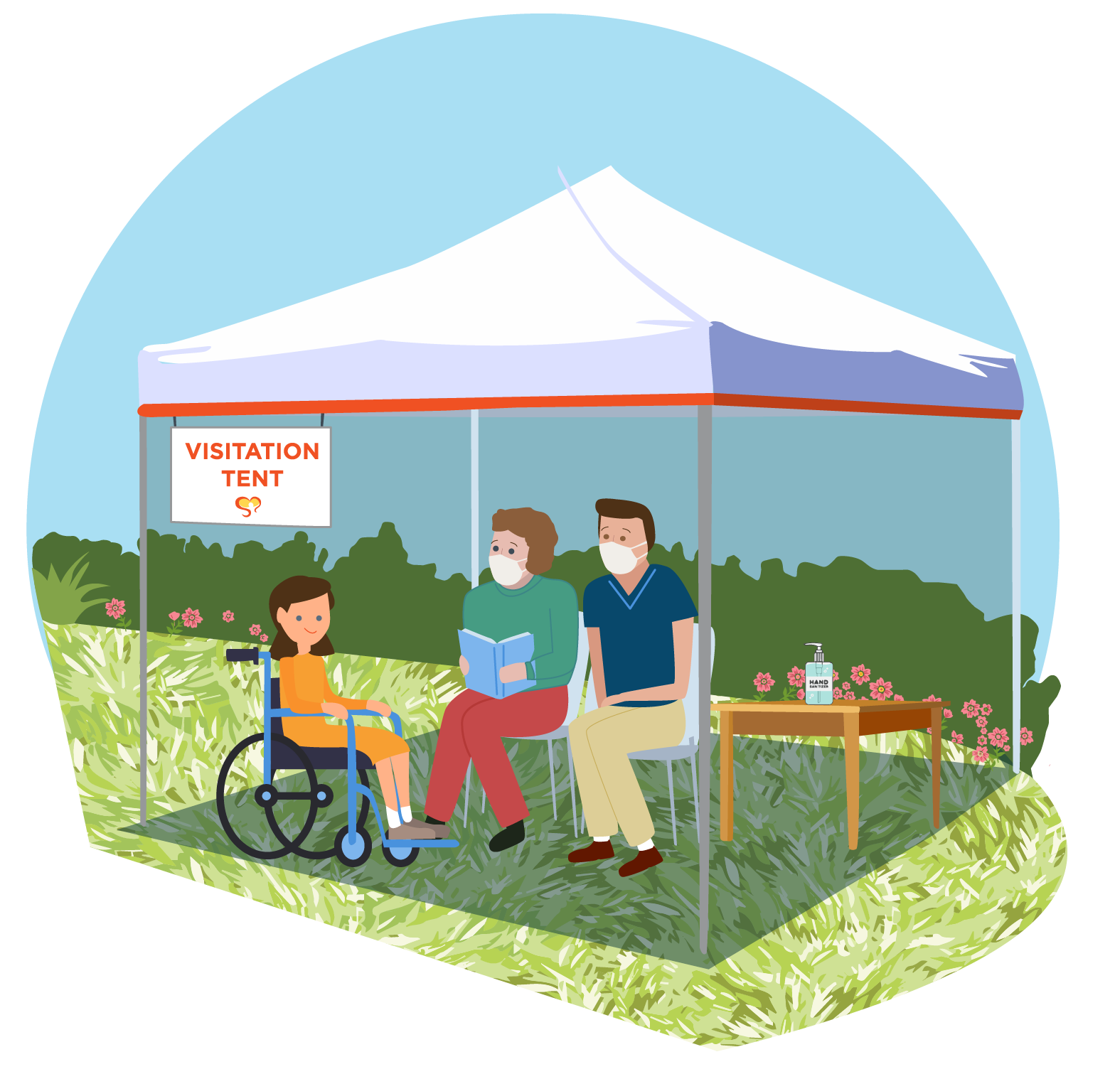 Illustration of a Family at a Visitation Tent